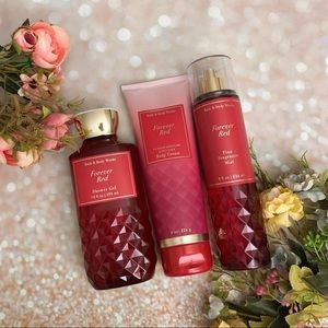 Bath and body works bbw forever red body care set